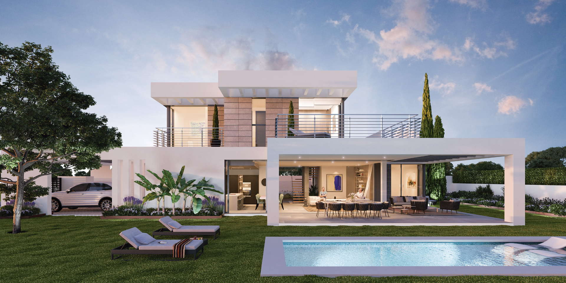 New modern villa with private pool and panoramic views of for Villa moderne plan