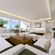 Atalaya Hills modern new build apartments Benahavis_living room with terrace_Realista Quality Properties Marbella