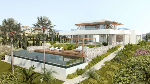 Los Flamingos Golf Villa modern_South east facade_Realista Quality Properties Marbella