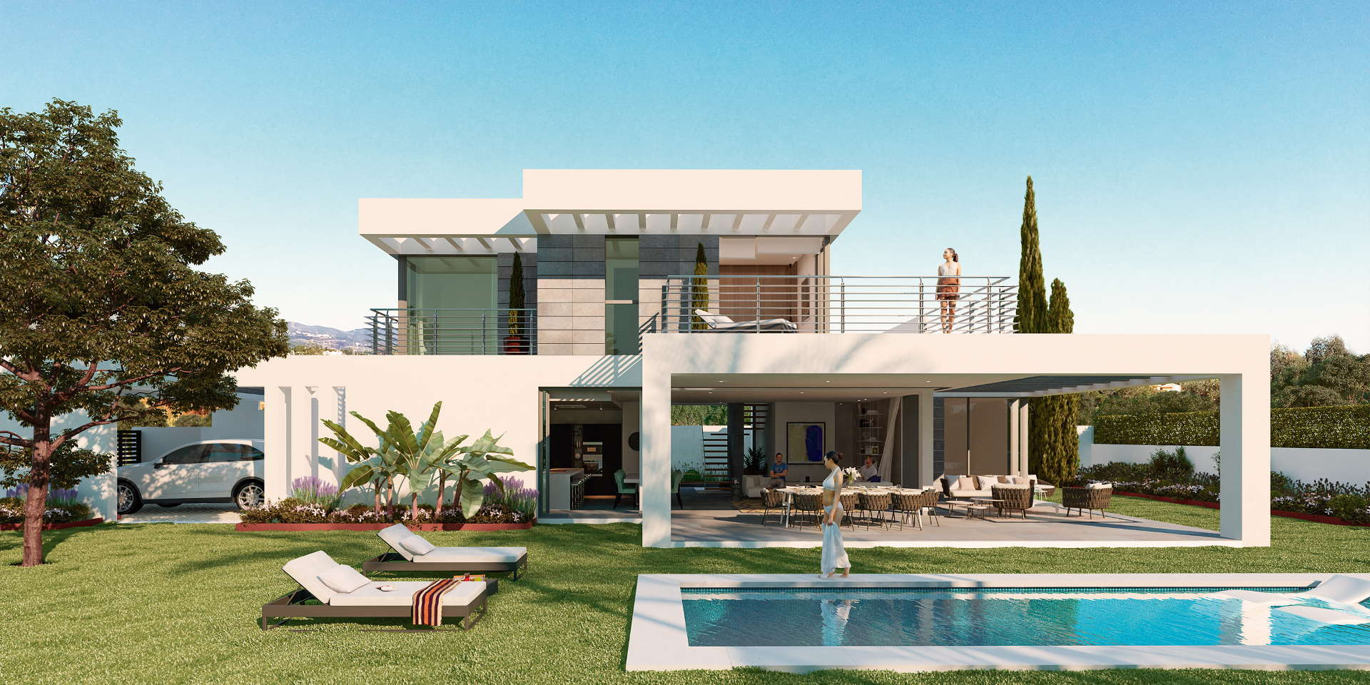 new modern villa with private pool and panoramic views of the mediterranean on the new golden. Black Bedroom Furniture Sets. Home Design Ideas