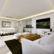 Atalaya Hills modern new build apartments Benahavis_Living room with openplan kitchen_Realista Quality Properties Marbella