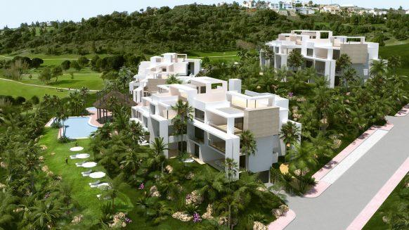 Nieuw, modern golf penthouse in Atalaya Hills Benahavis, met direct uitzicht op zee, golfbanen en meren