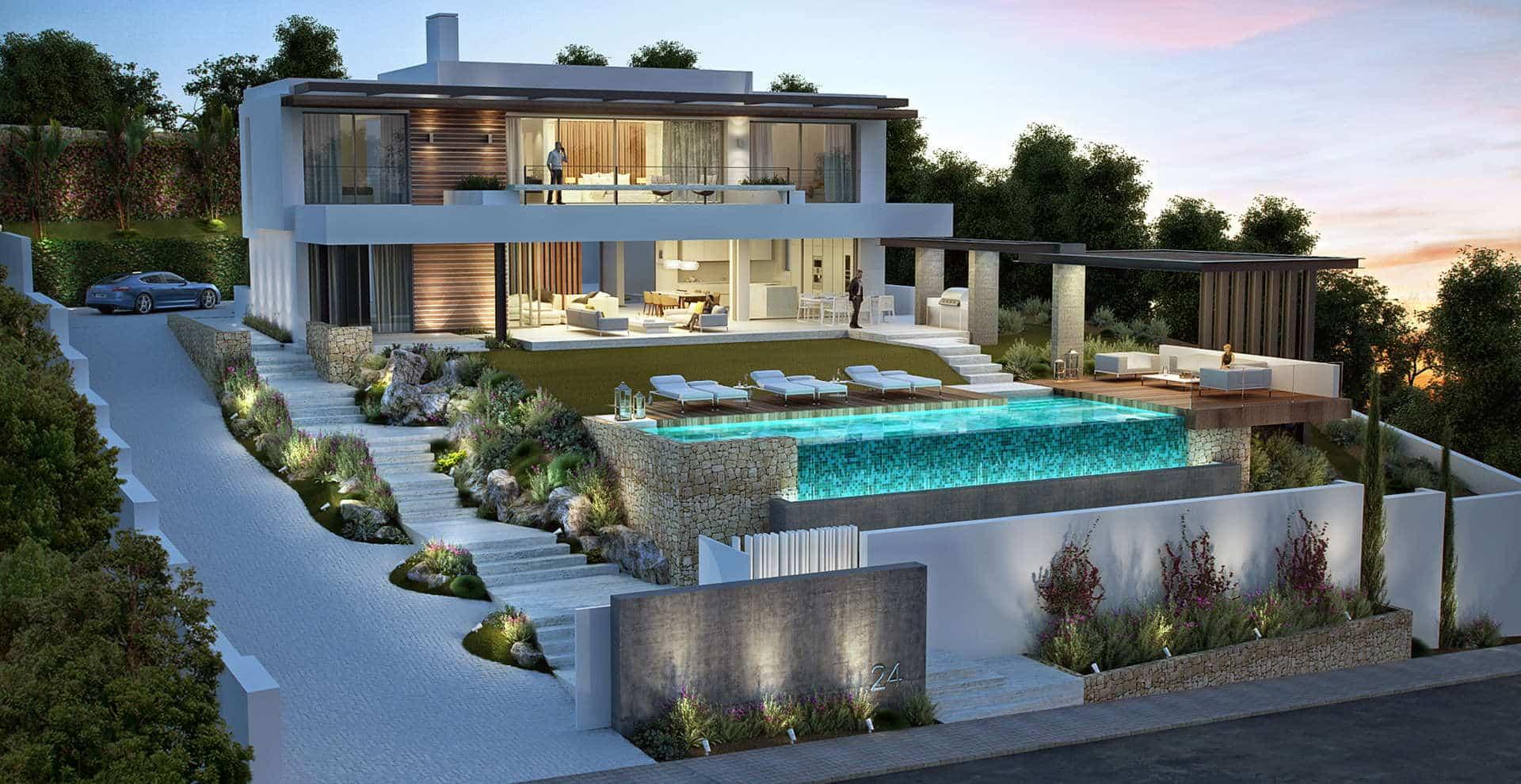 Nieuwbouw villa te koop la alqueria atalaya benahavis realista - Moderne entreehal ...