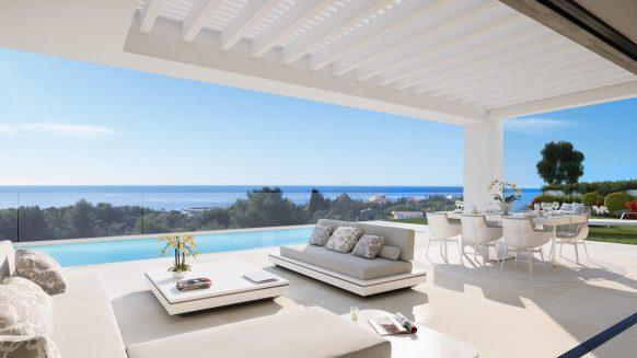 Caboroyale nieuwe luxe villa met zeezicht te koop in Marbella
