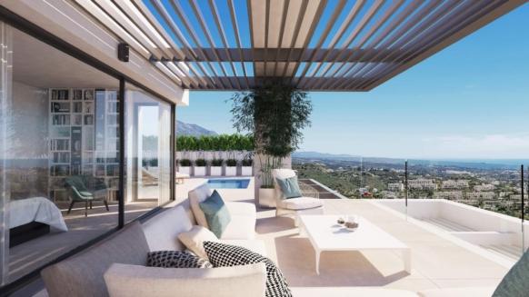 Nieuw 4 slaapkamer duplex penthouse te koop met prive zwembad in Aqualina Residences Benahavis