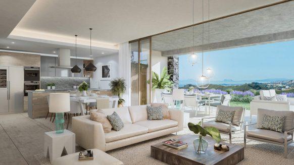 Twee slaapkamer beneden appartement in Los Olivos Real de La Quinta Resort met ruim terras en tuin op het zuidwesten