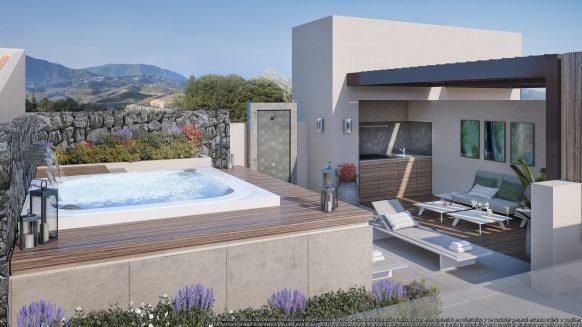 Duplex penthouse in Los Olivos Real de La Quinta Resort met dakterras om naar eigen smaak in te richten en uitzicht op zee