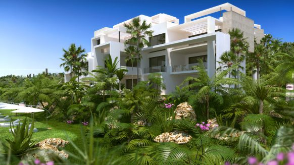 Atalaya Hills modern new build apartments Benahavis_View of the complex with communal garden_Realista Quality Properties Marbella