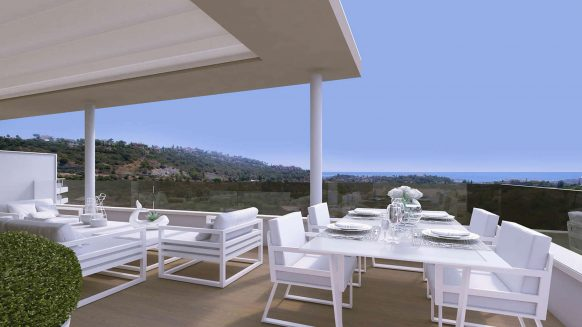Off plan three bedroom penthouse with open golf and sea views for sale in Benahavis, Marbella