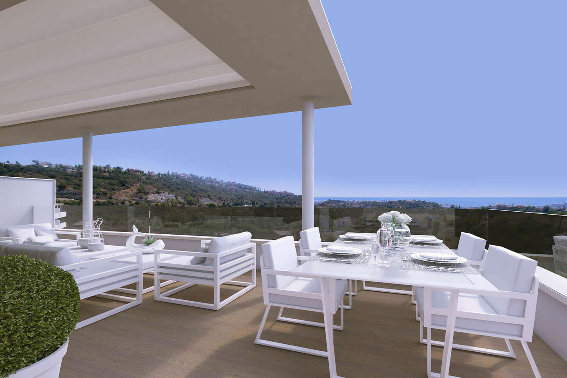 Botanic Los Arqueros new project_ terrace with view_Realista Quality Properties Marbella