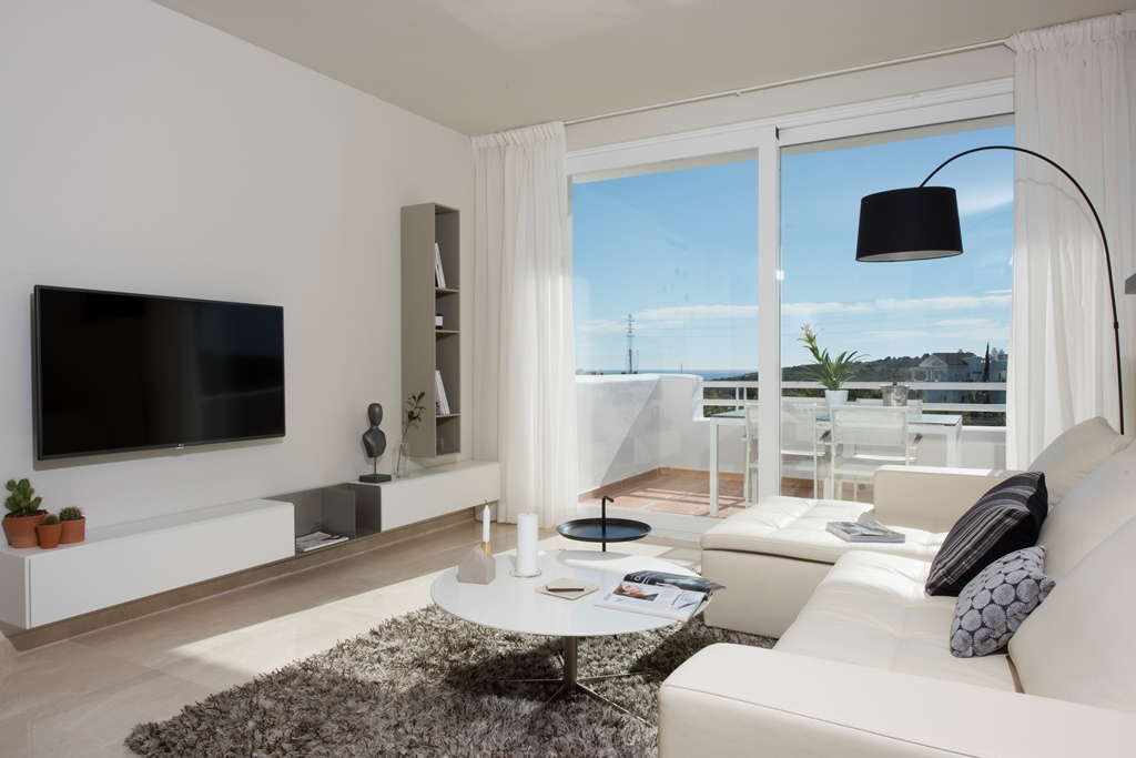 Luxury apartments next to the crystal turquoise waters of the lagoon in Casares