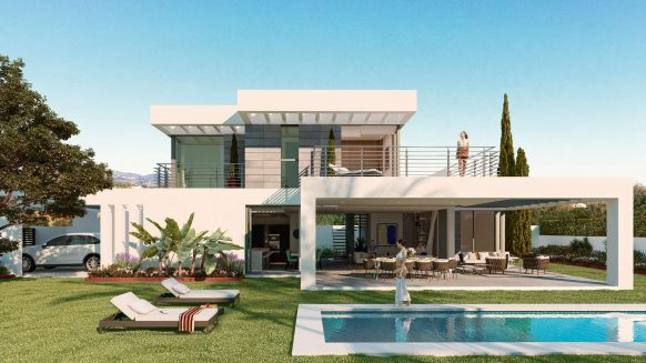 Last Unit for sale New modern finished SYZYGY Villa with private pool panoramic sea views in Cancelada Estepona