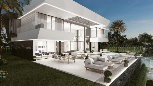 New modern villa for sale in La Alqueria Benahavis with spectaculair sea views