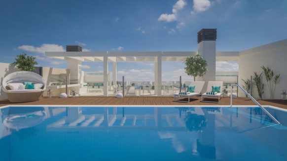 Malaga City centre apartment for sale new on the 4th floor with rooftop swimming pool