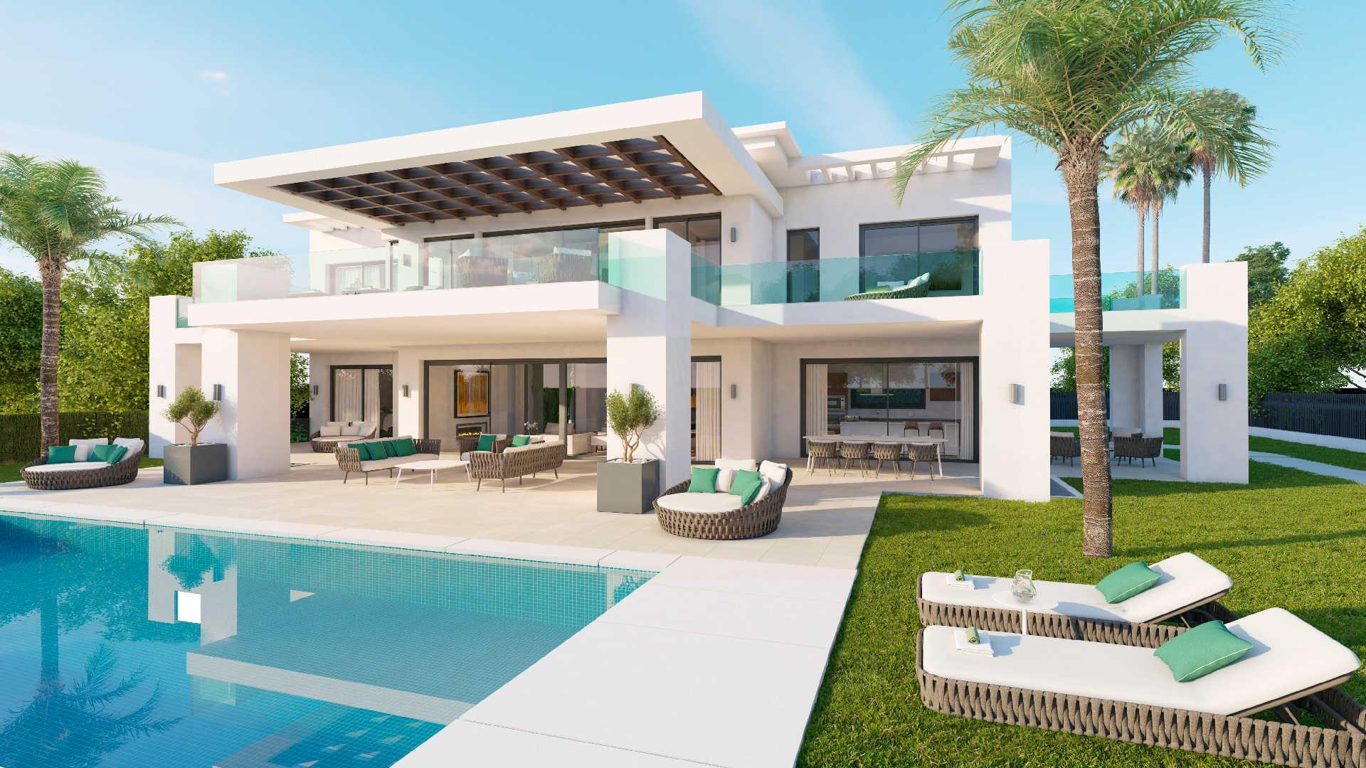 New modern villa in Los Olivos Nueva Andalucia residential area in Marbella