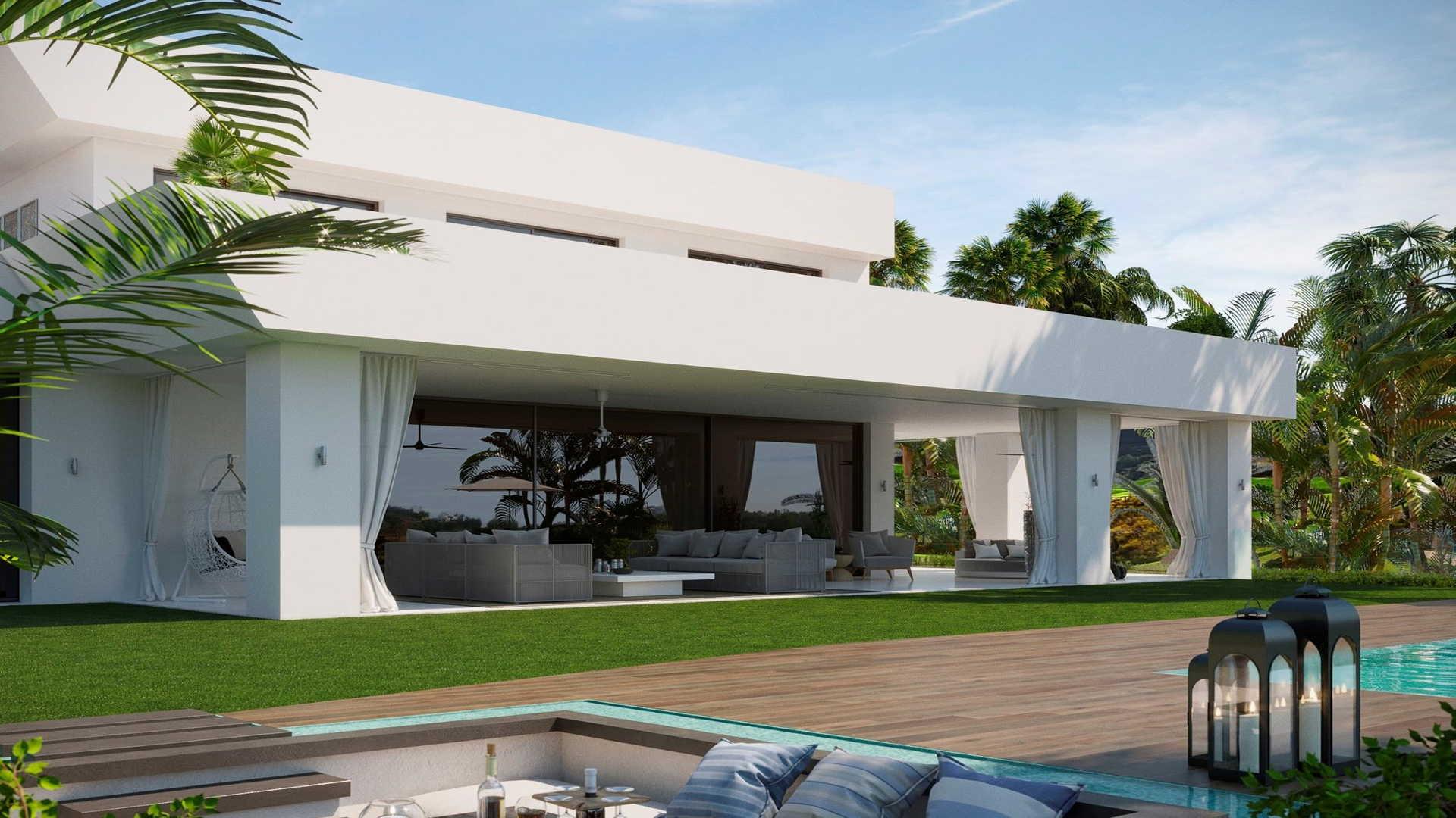 Brand new modern villa in la Alqueria Benahavis for sale, with private pool and open sea views