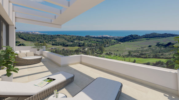 New 3 bedroom penthouse for sale with panoramic sea views in Mirador de Estepona Golf