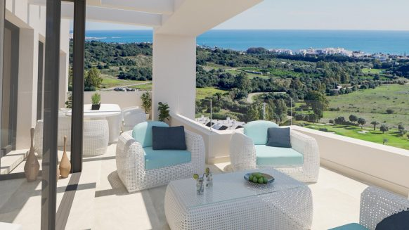New front line golf apartment with sea views for sale in Mirador de Estepona Golf