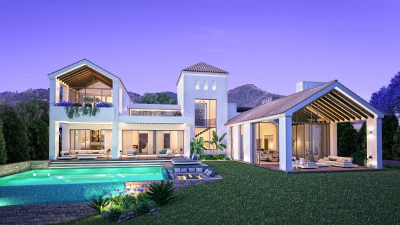 New build villa for sale in The Heights Estepona with large floor to ceiling windows for lots of natural light