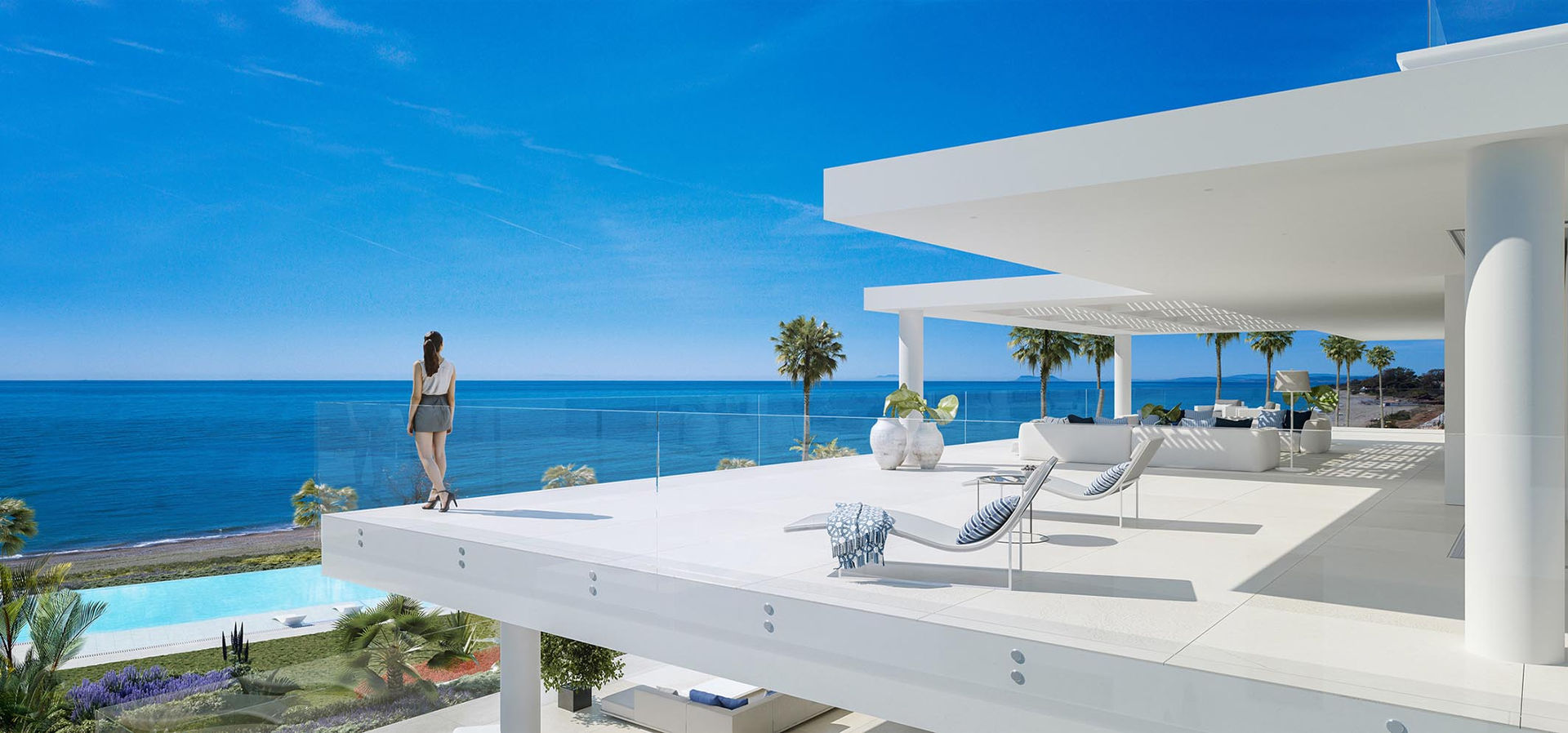 Emare Estepona front line beach apartment for sale with endless sea views