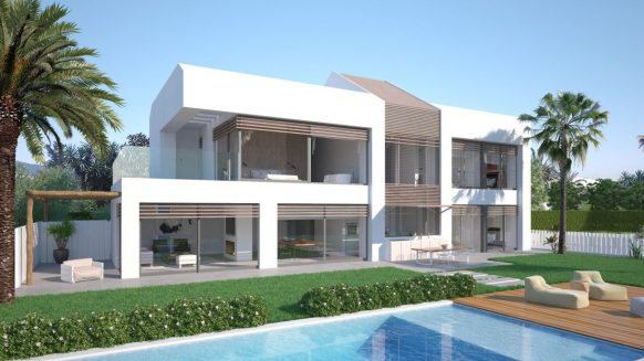 Front line beach villa, south facing and with uninterrupted panoramic views to the Mediterranean Sea
