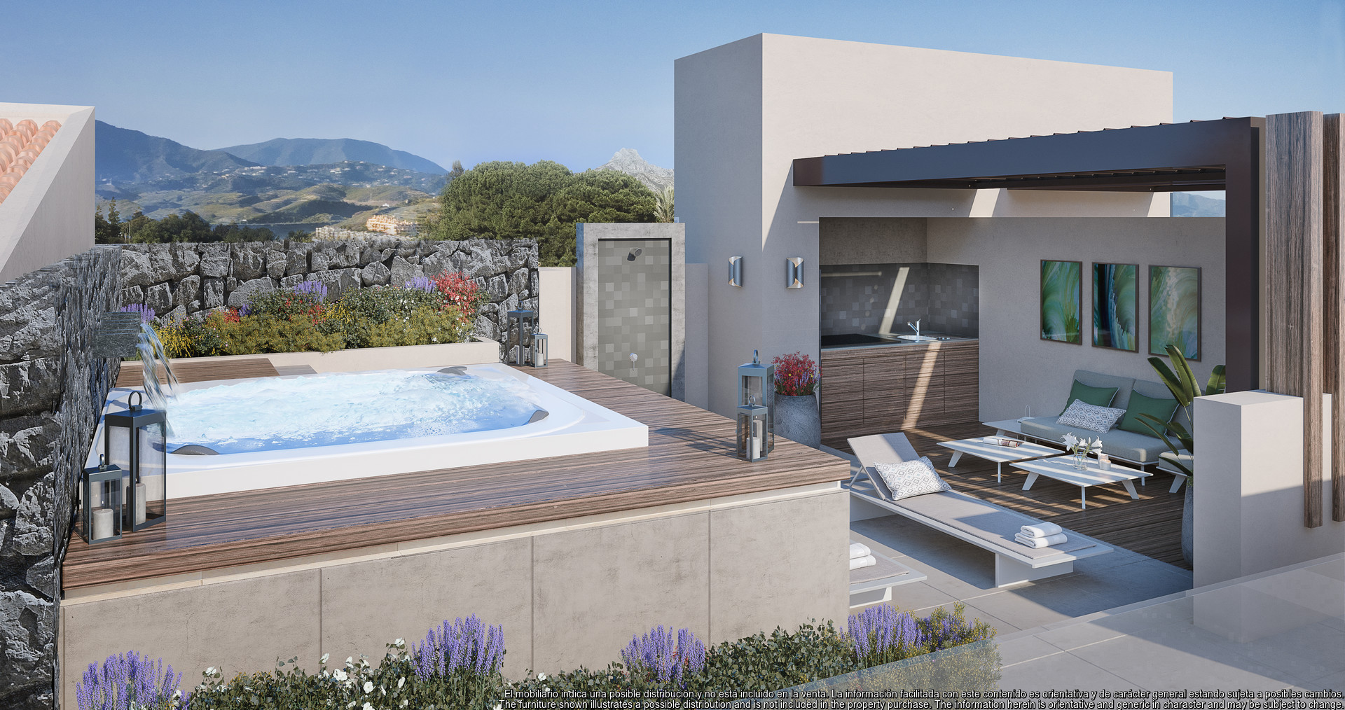Duplex penthouse in Los Olivos Real de La Quinta Resort with large roof terrace and sea views