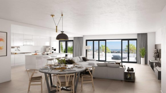 Two bedroom Ground floor apartment with sea views at walking distance to the harbor in Las Mesas Homes in the center of Estepona
