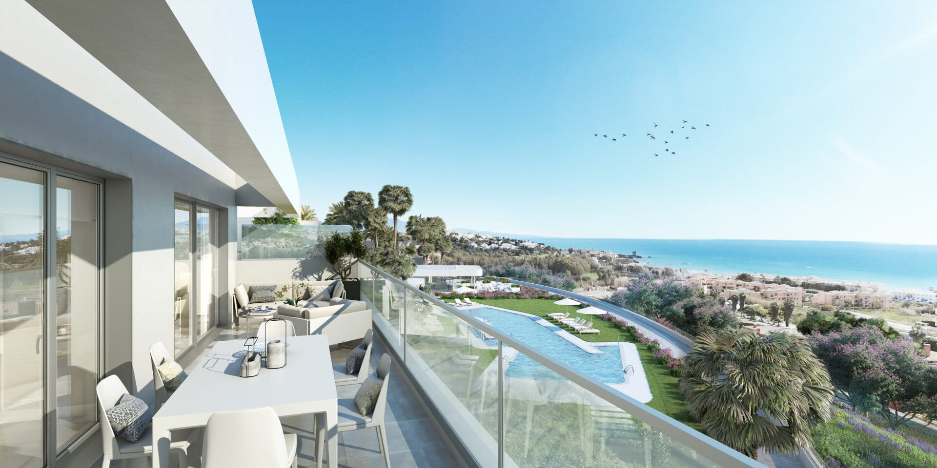 New 3 bedroom apartment with beautiful views over the sea and the Doña Julia golf course
