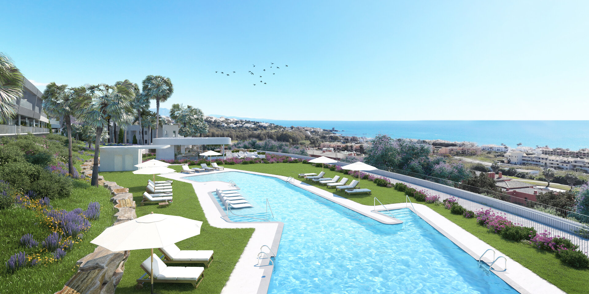 New 2 bedroom apartment 400 meters from the beach with beautiful views over the sea and the Doña Julia golf course