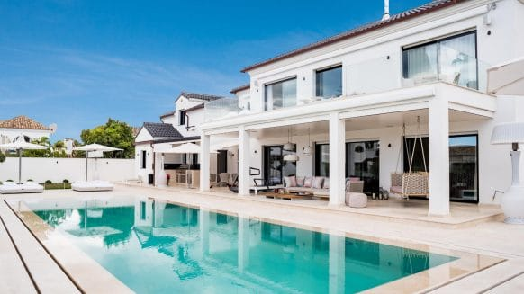Outstanding Modern Beach side Villa Located in The Iconic Casablanca Development at walking distance to the beach on Marbella's Golden Mile