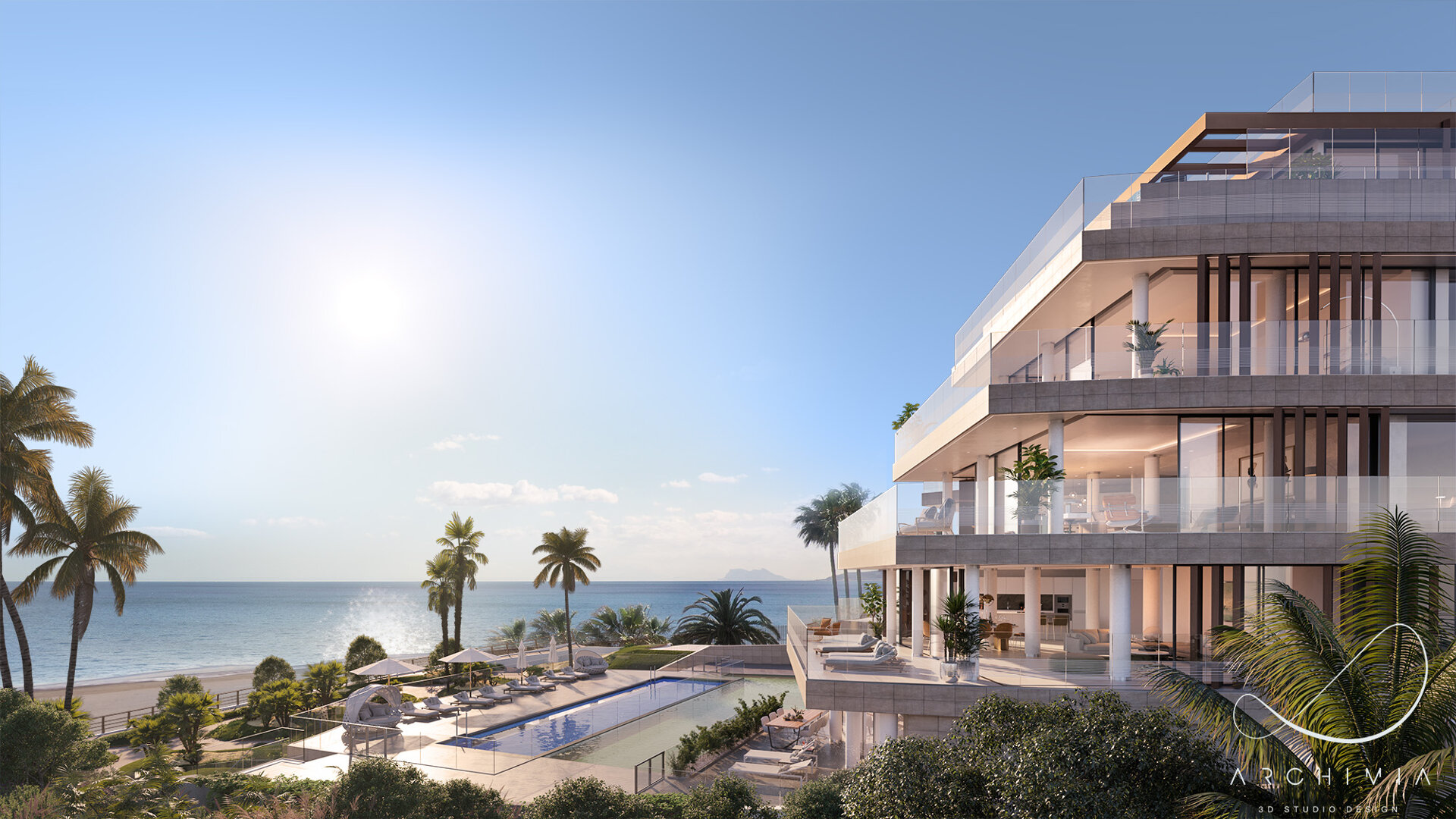 Spectacular Beach Front apartment with wrap around large terrace in Estepona offering privacy and amazing panoramic sea views!