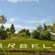 The word of Marbella (Spain) on the grass.